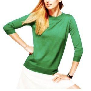 J. CREW Merino Wool Tippi 3/4 Slvs Green Sweater
